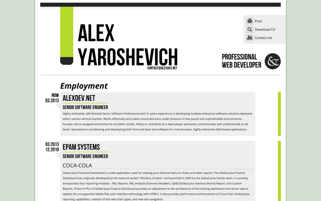 Second version of resume site