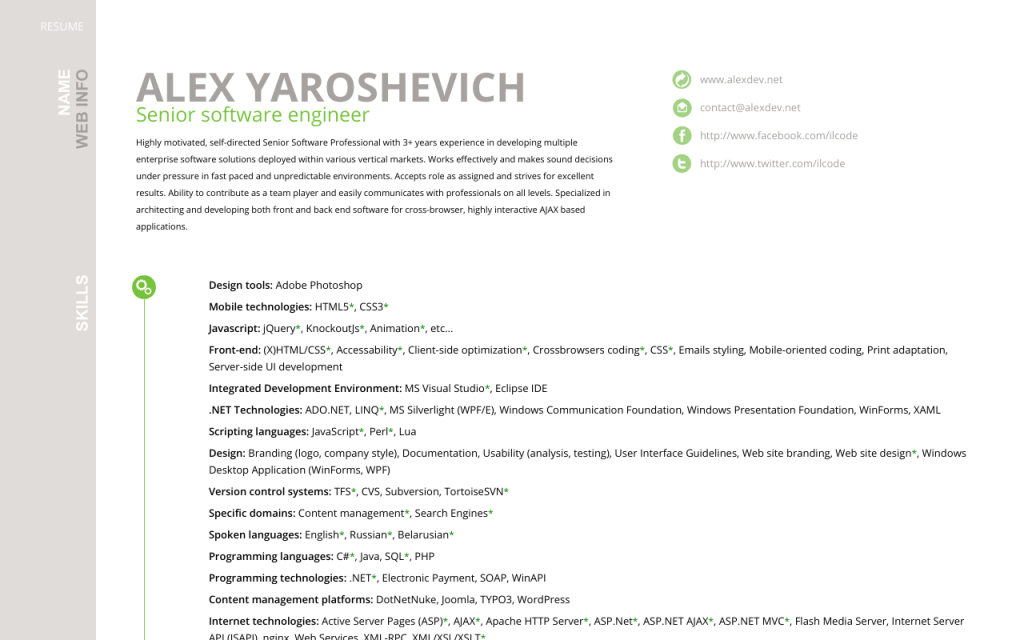 First version of resume site